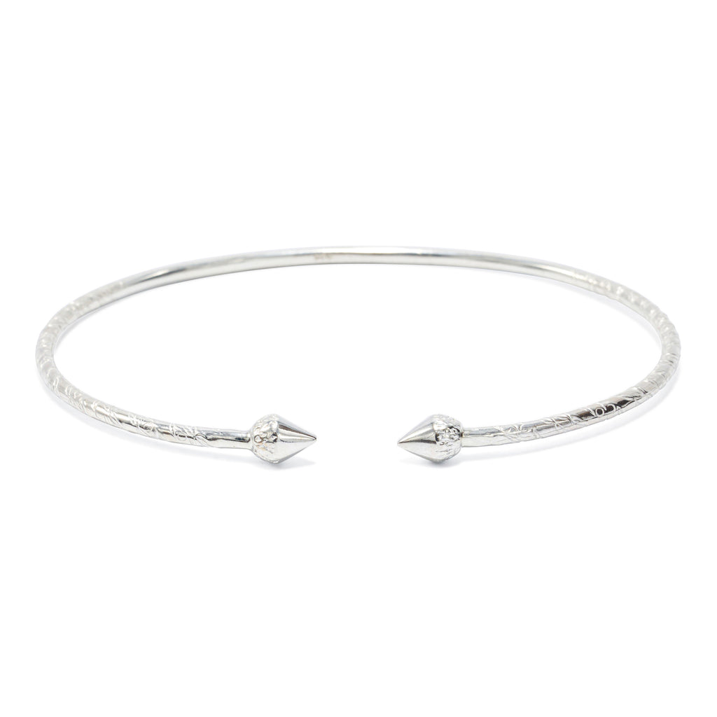 Acorn Head Child's Bangle, 1.9mm hand etched wire(pair) - TB431CSN