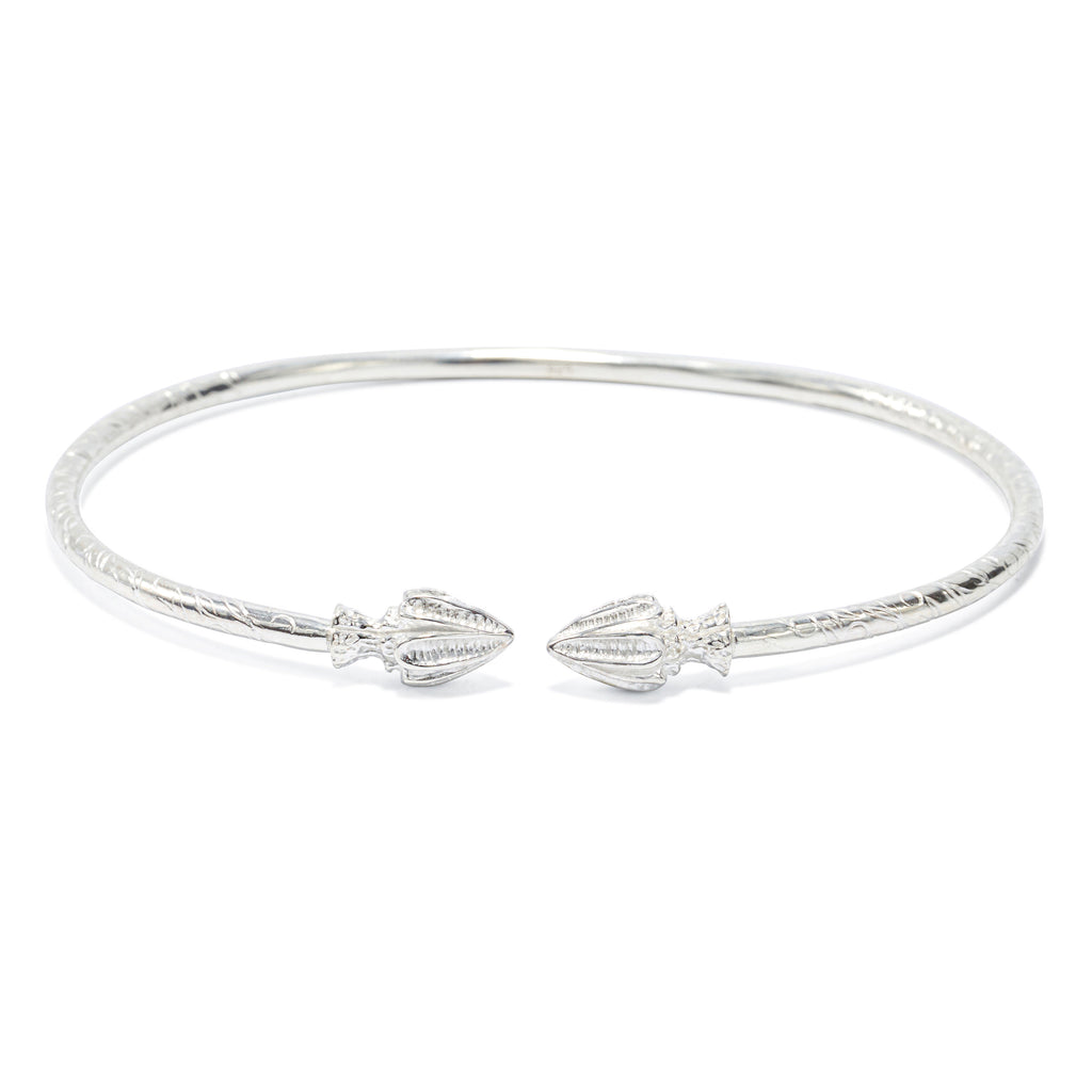 Spear Head Bangle, 2.9mm hand etched wire (pair) - TB454CSN