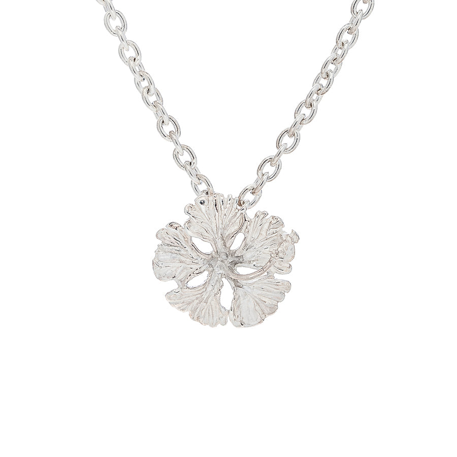 Island Style Hibiscus pendant, 13.5mm, cable link chain - TN521