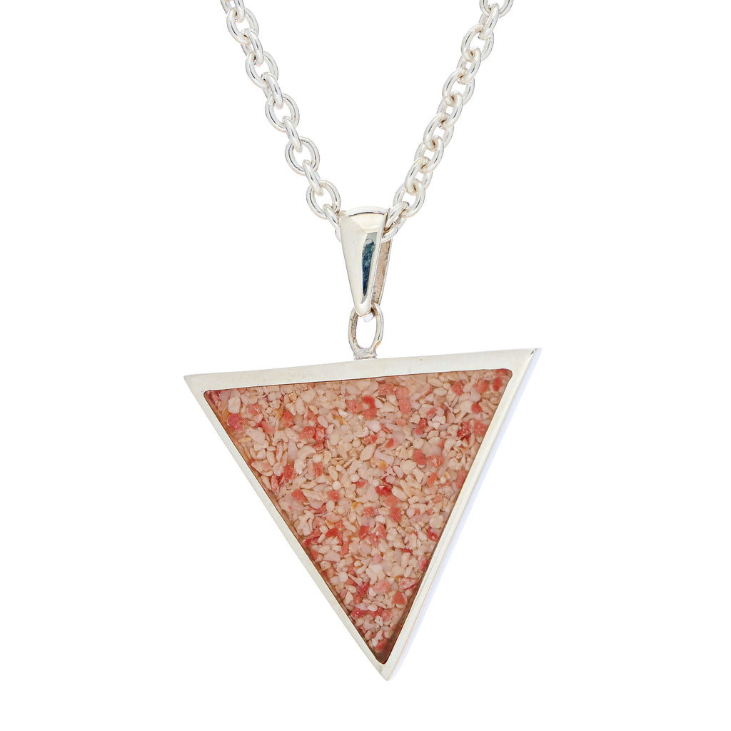 Sterling Silver Triangle pendant, cable link chain - TN525