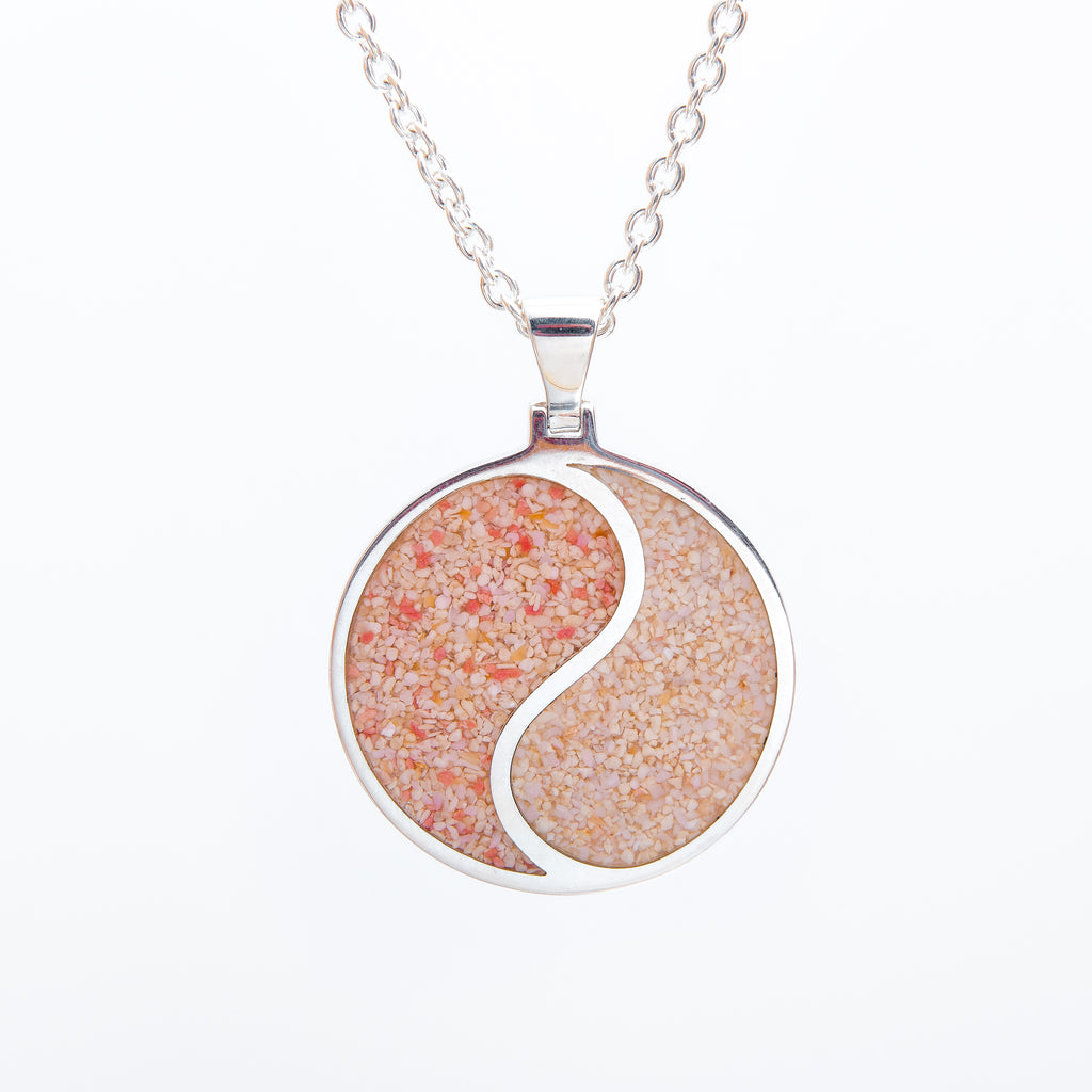 "Round Yin/Yang Pendant on Cable Chain - TN526 18""WP"
