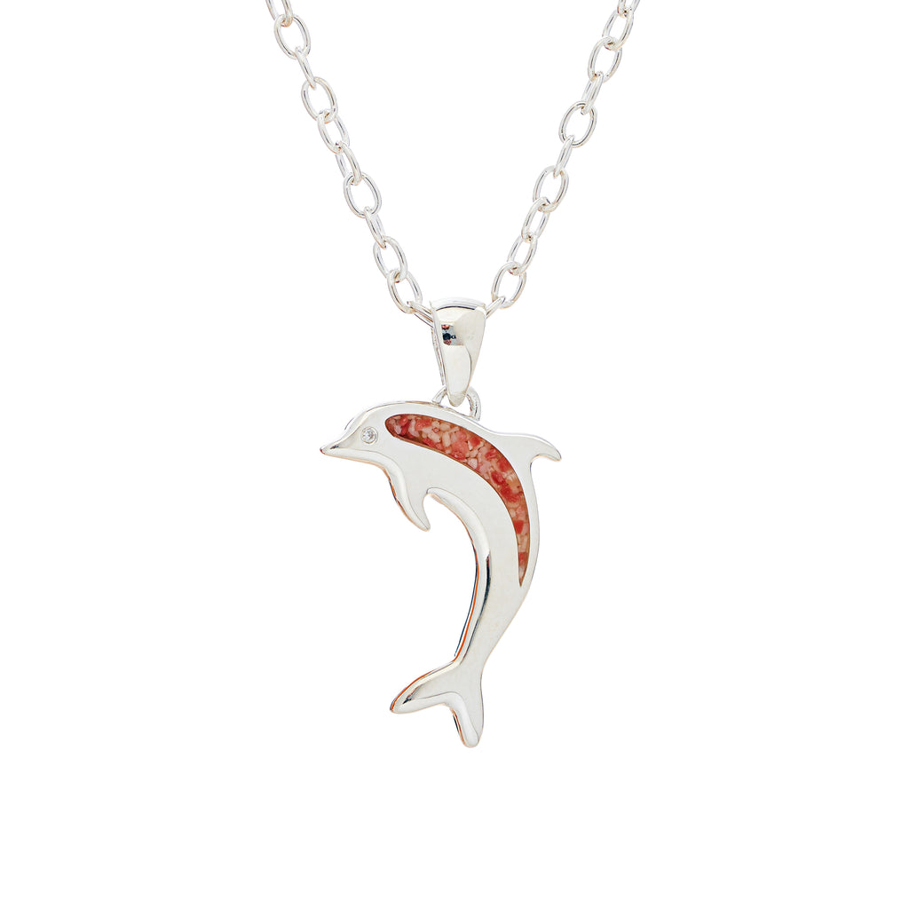 Sterling Silver Dolphin, cubic zirconia eye, cable link chain - TN532 18""