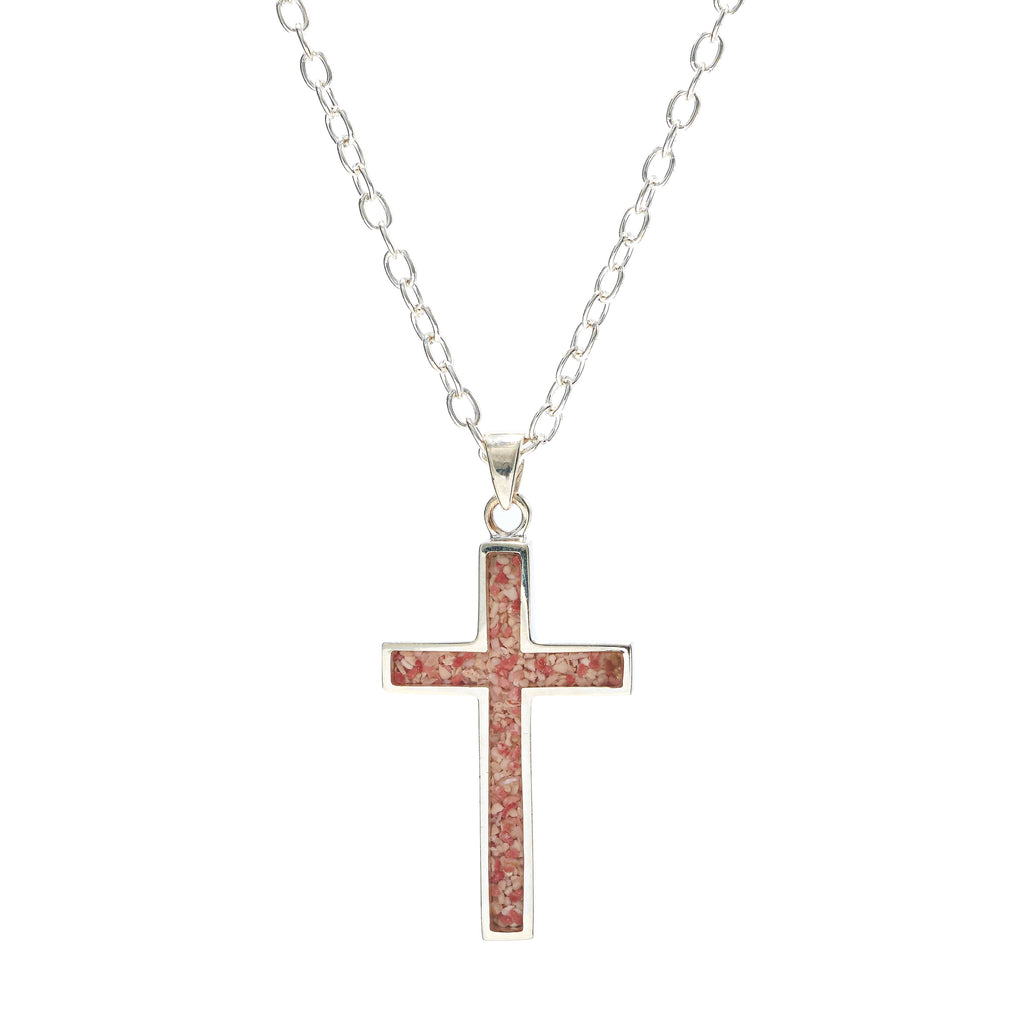 Sterling Silver Cross, cable link chain - RR546