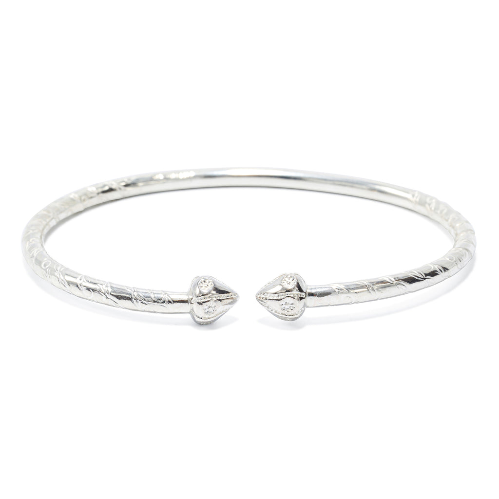 Acorn Head Bangle, 4mm hand etched wire (single) - TB565CSN