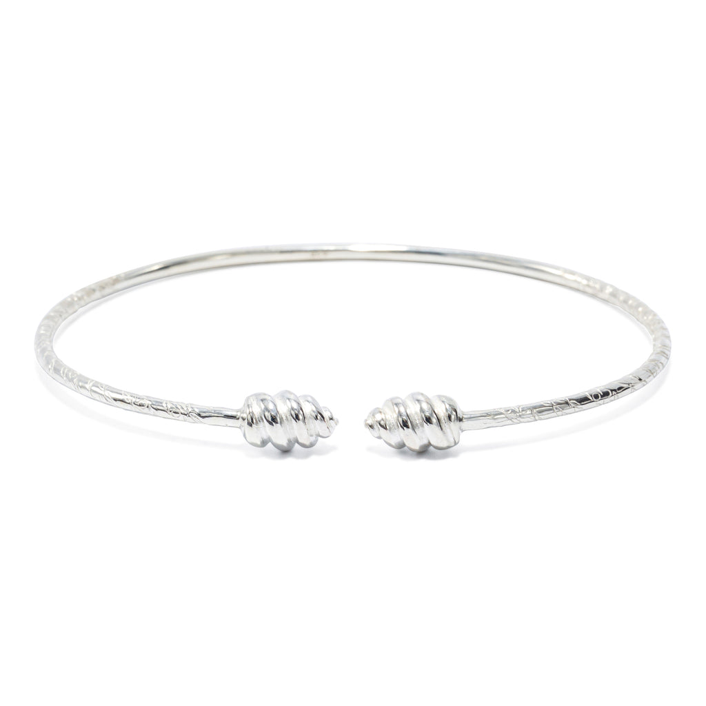 Swirl Head Bangle, 2mm hand etched wire (pair) - TB601CSN