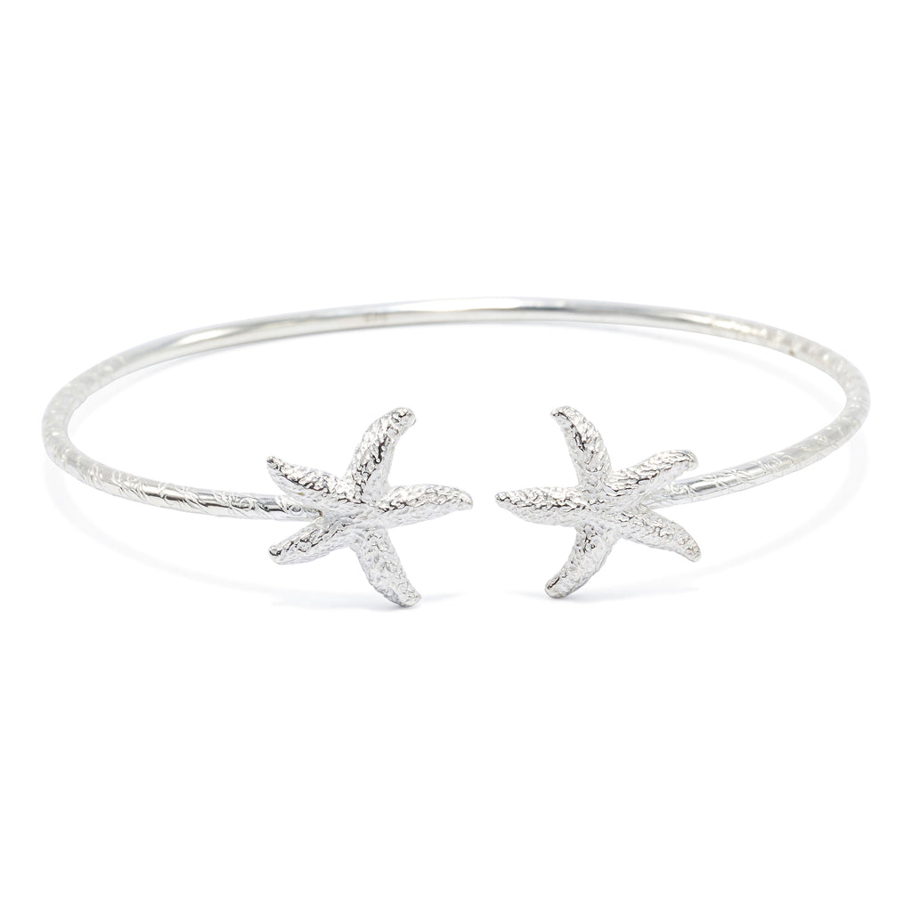 West Indies Starfish Head Bangle, 2mm hand etched wire (pair) - TB614CSN