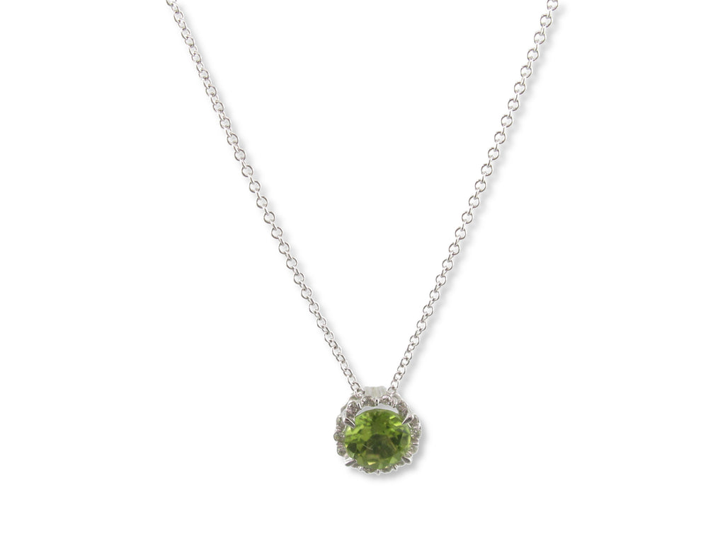 "Peridot, Diamond & 14 Karat White Gold 18"" Necklace - GS363PERW"