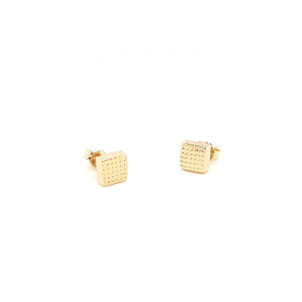 Crisson Original 14 Karat Yellow Gold Textured Square Studs - HG3098