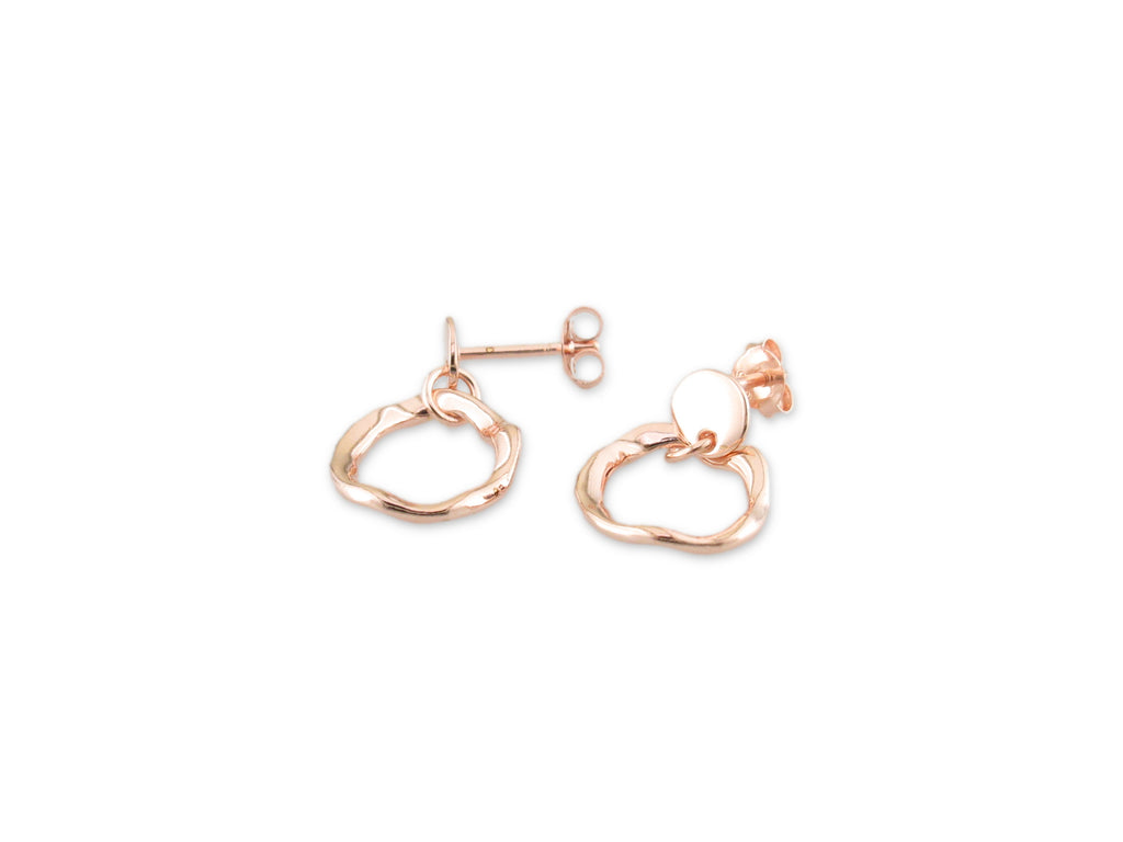 Rose Gold Plated Twister Circle Drop Studs - HPS1571RGP