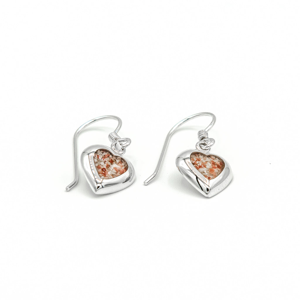 Heart Drop Sterling Silver Earrings - HPS742