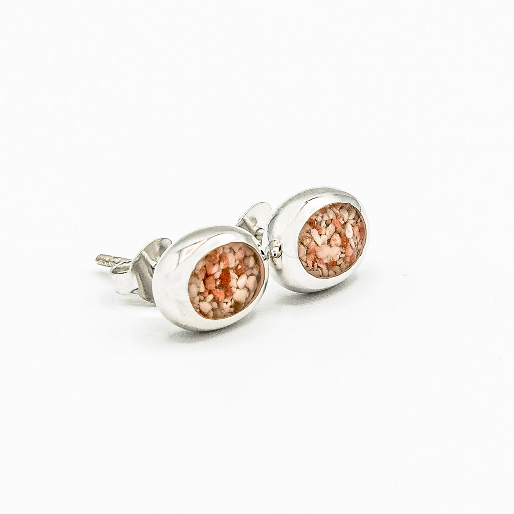 Oval Stud Earrings Sterling Silver -HPS743 SML