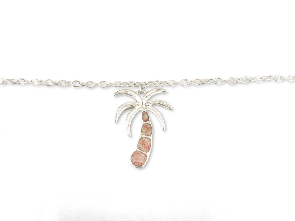 Sterling Silver Island Sand Palm Tree Anklet - SA206-10""