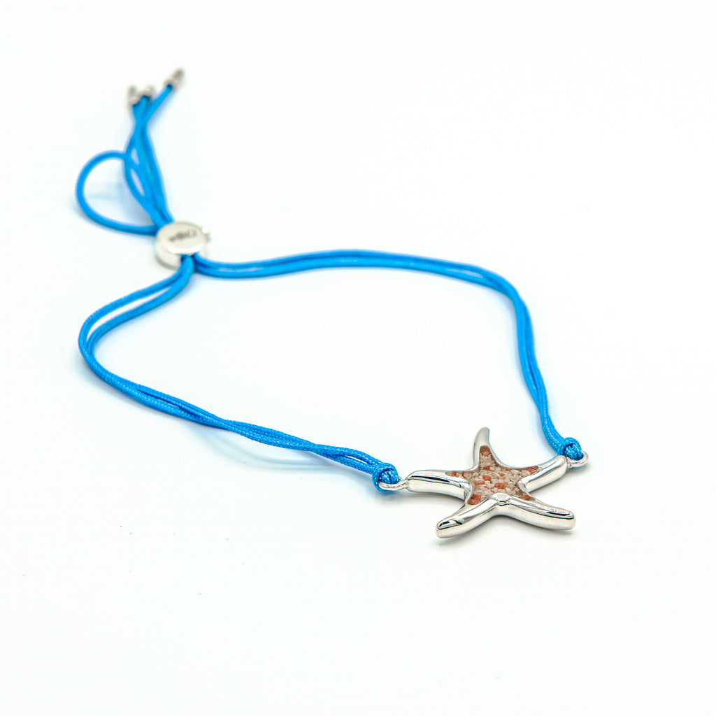 Starfish charm bracelet with light blue silk - TB956 L BLU