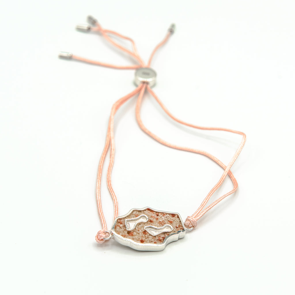 Footprints charm bracelet with light pink silk - TB957 PINK