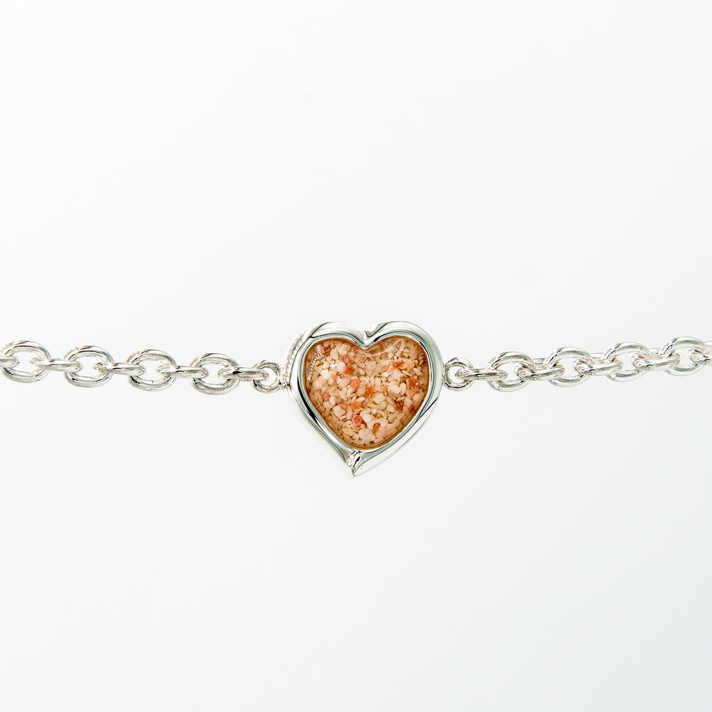 Heart Charm Bracelet on Cable Chain, Sterling Silver - TB959 7.5""