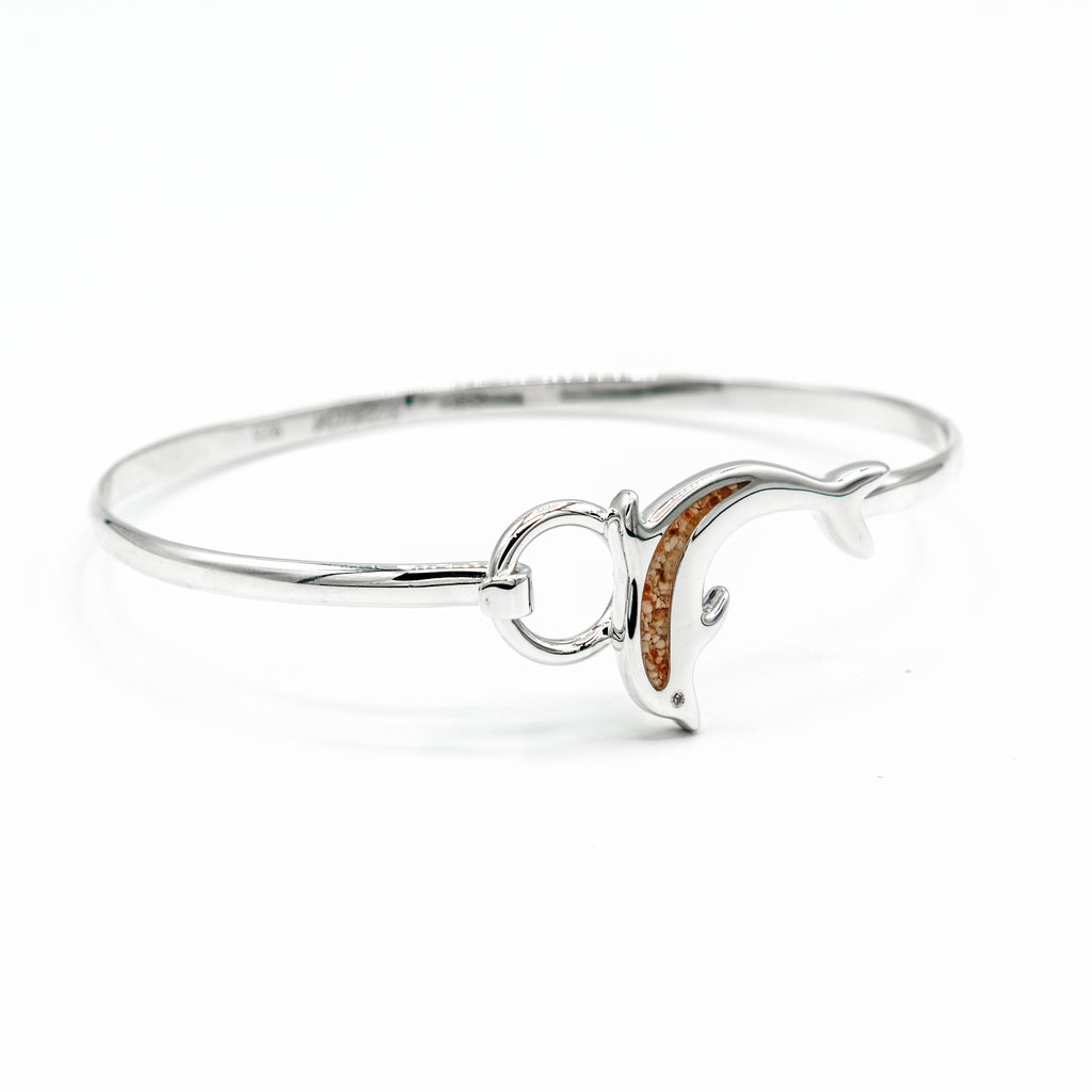 Dolphin Hook Bangle with Cubic Zirconia Eye - TB982