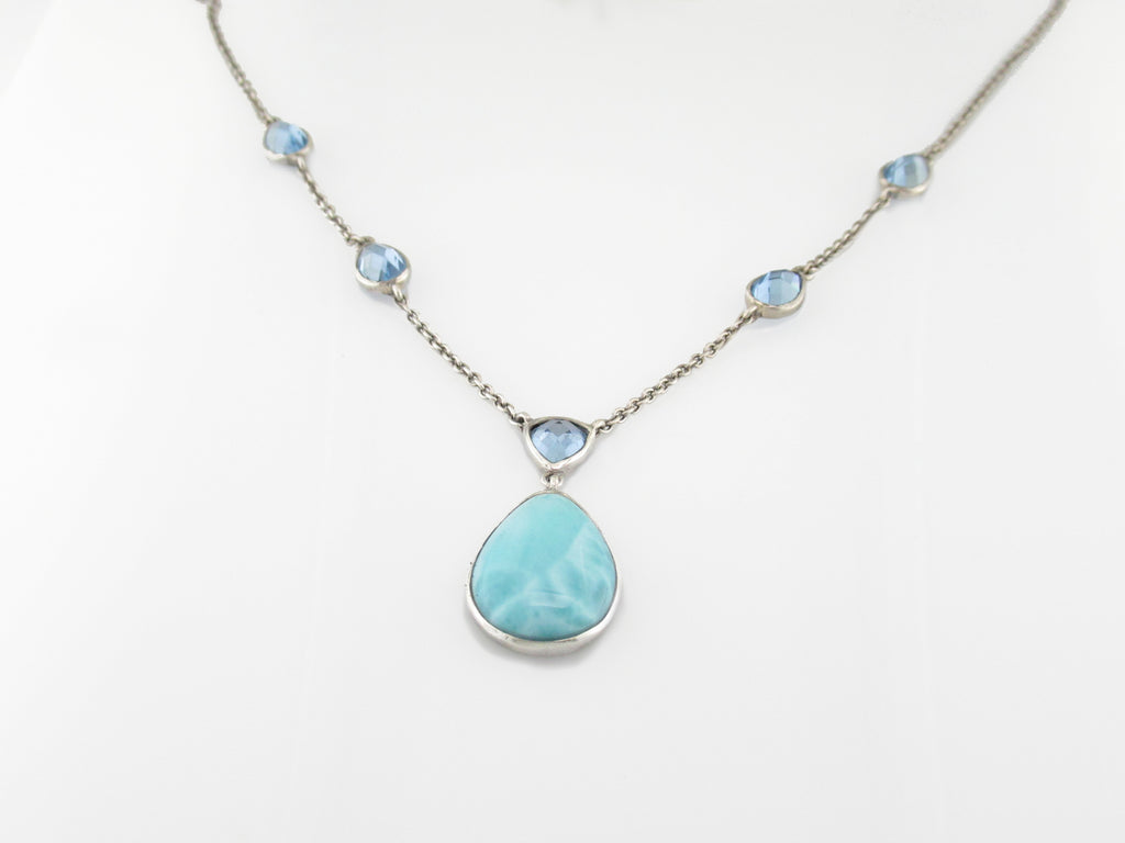Ilona Larimar & Pear Drop Necklace - TN2104