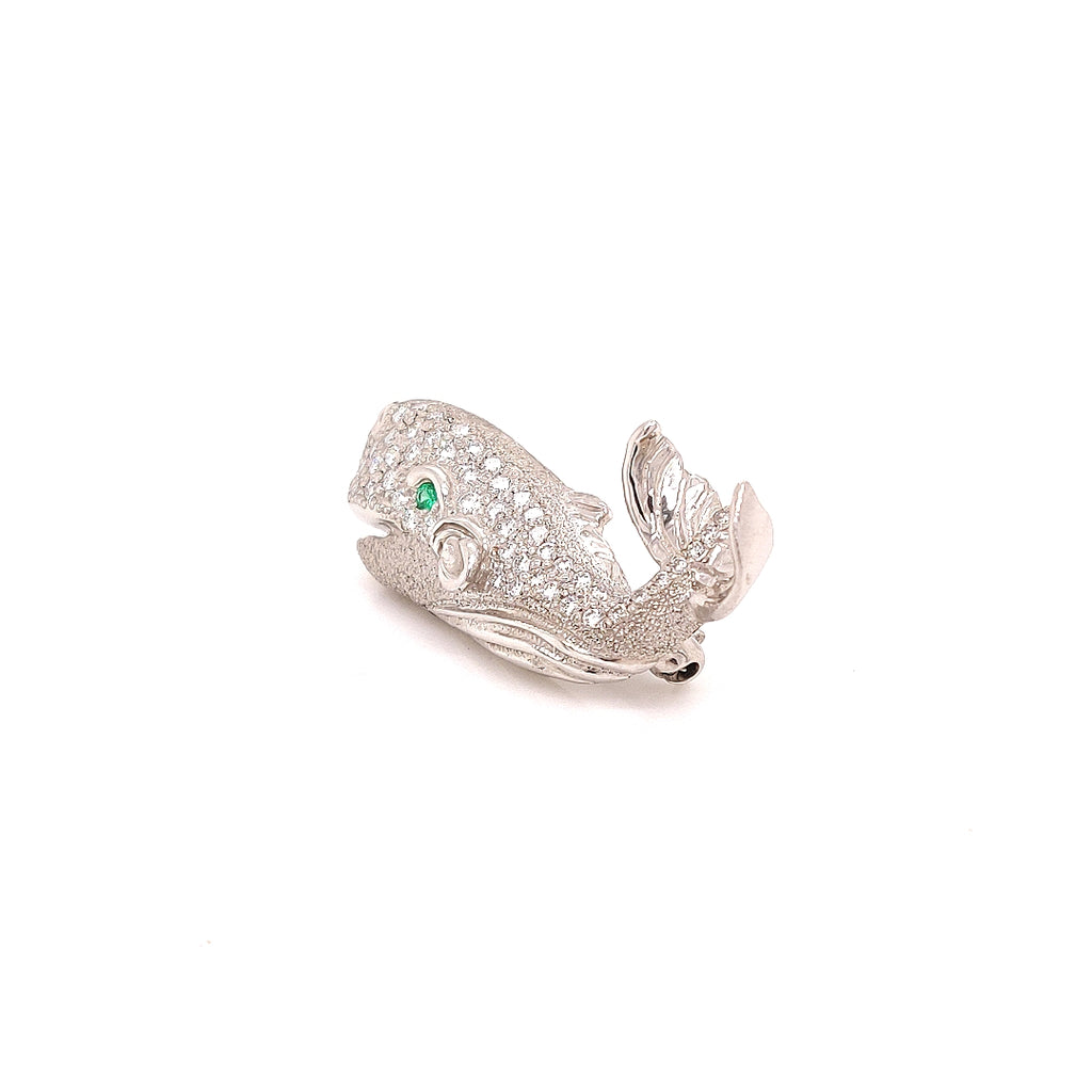 Diamond Studded Platinum Whale Broach with an Emerald Eye - GC100
