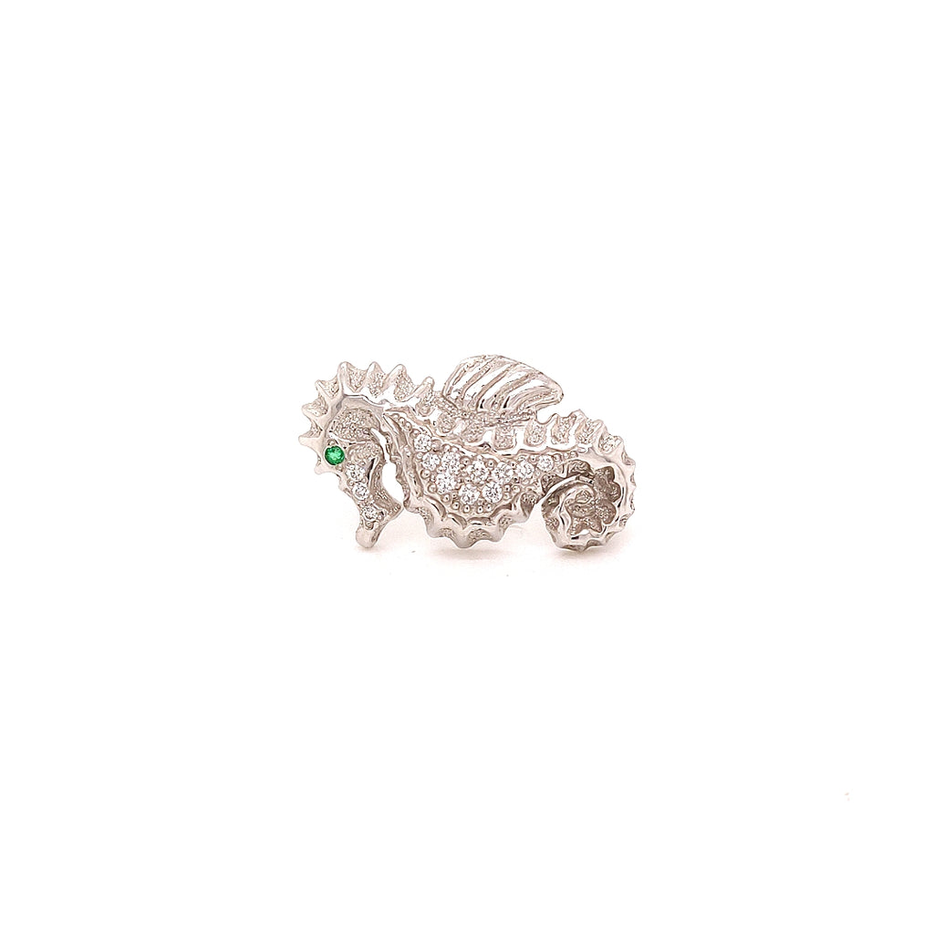 Diamond Studded Platinum Seahorse Broach with an Emerald Eye - GC104