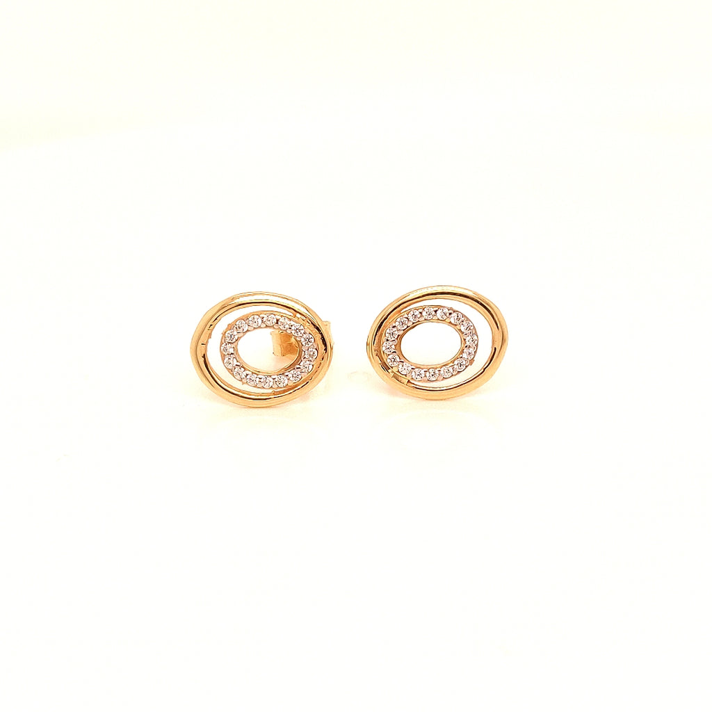 Crisson Original 14 Karat Yellow Gold CZ Oval Studs - HGS3938CZ