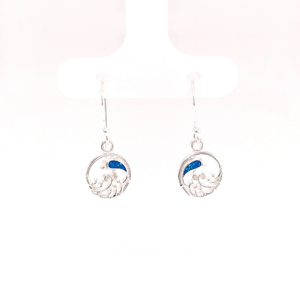 Crisson Original Blue Spinel Circular Jumping Dolphin Drop Earrings - HPS1645