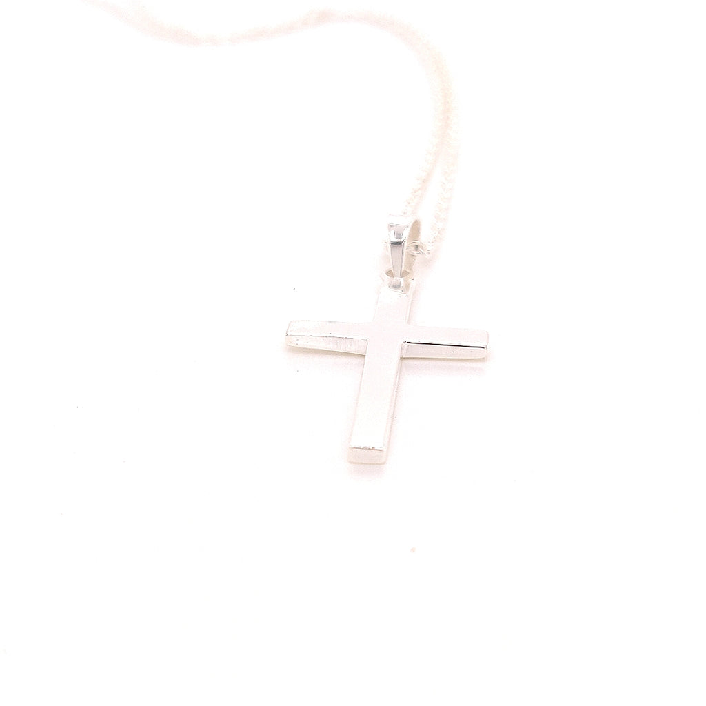 "Crisson Original 18"" Mirrored Cross Necklace in Sterling Silver - RR535 18"""