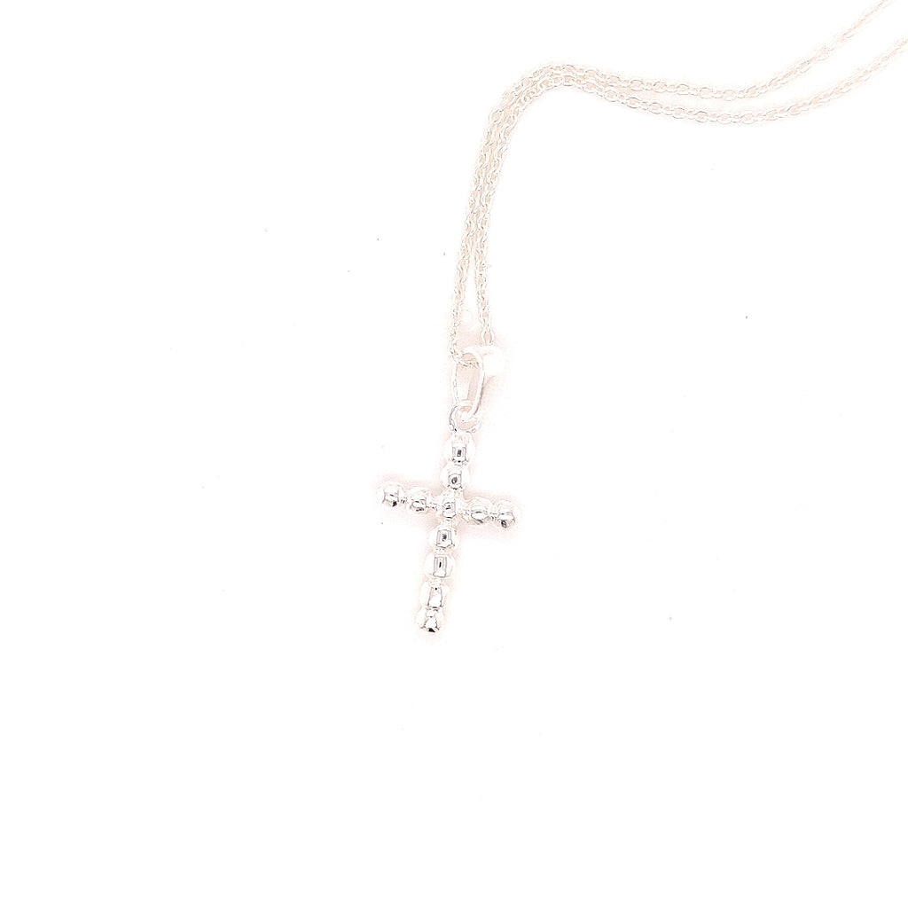 "Crisson Original 18"" Beaded Cross Necklace in Sterling Silver - RR536 18"""