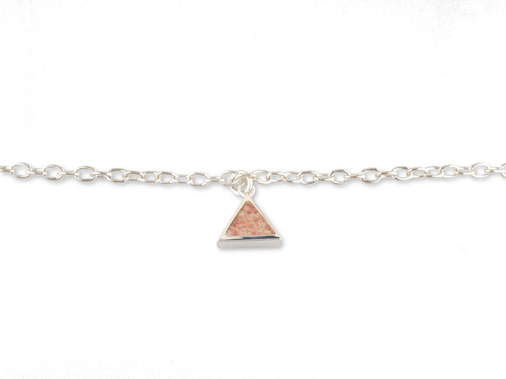 Sterling Silver Island Sand Triangle Anklet - SA199-10""