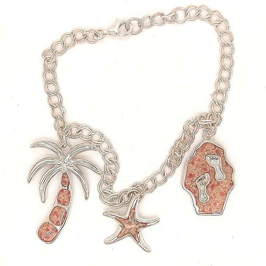 3 Charm Bracelet - Footprints, Starfish & Palm Tree - TB943-7.5""