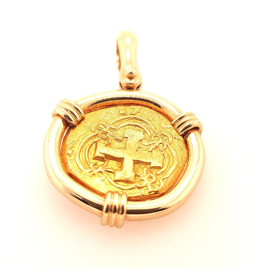 Spanish 2 Escudo Gold Coin Pendant - TC234 6950
