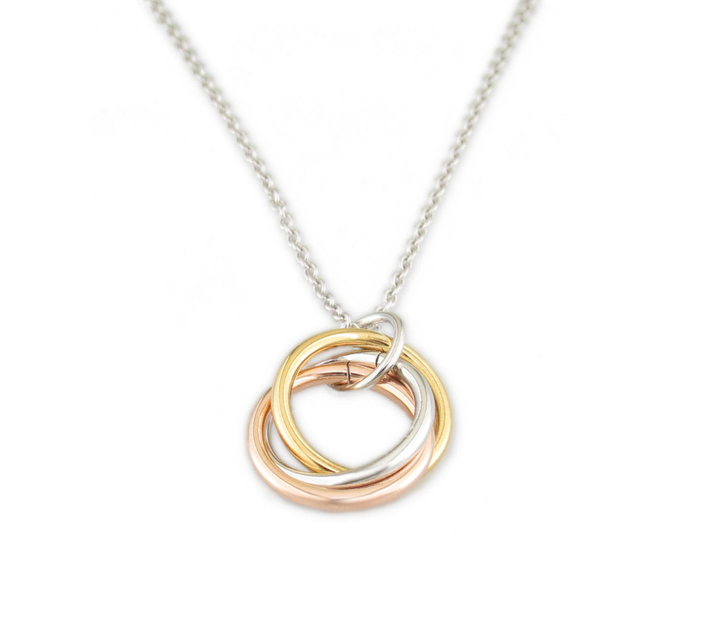 Interlocking Circles Plated Silver Necklace - TN1192-18""