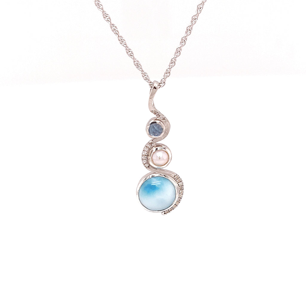 Marah Lago 'Zen' Necklace with Fresh Water Pearls and Larimar - TN2114