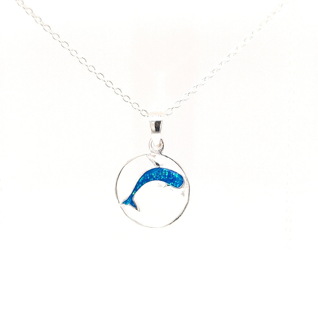 Crisson Original Spinel Dolphin Necklace in Sterling Silver - TN811 18""