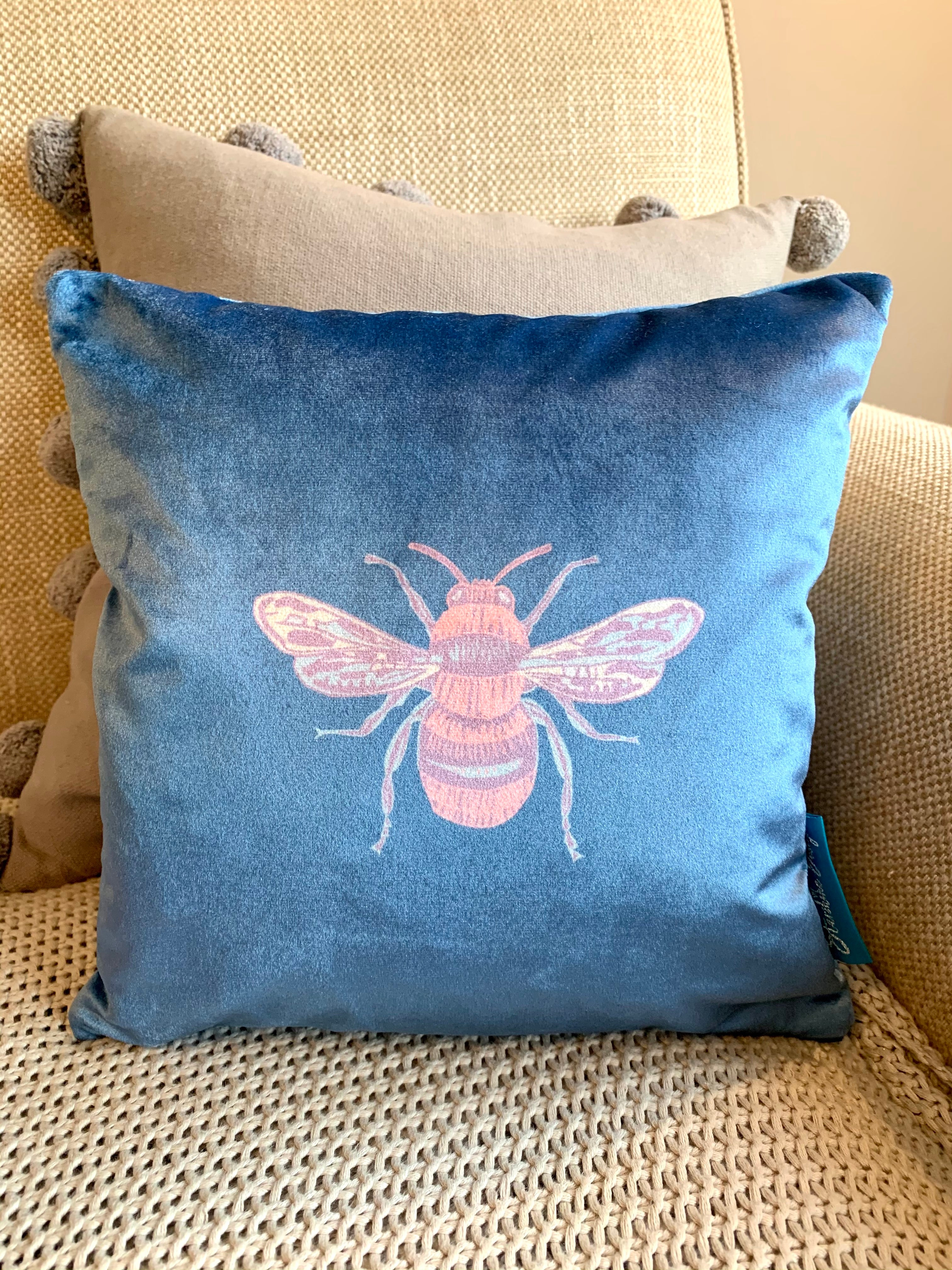 Jewel royal blue coloured Collection Honey Bee velvet Cushion with Feather Insert