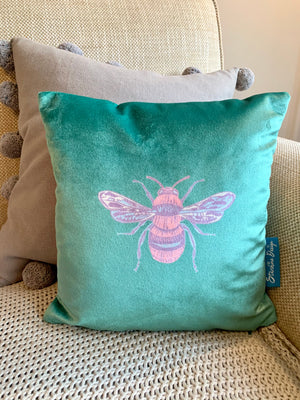 Jewel emerald green coloured Collection Honey Bee velvet Cushion with Feather Insert
