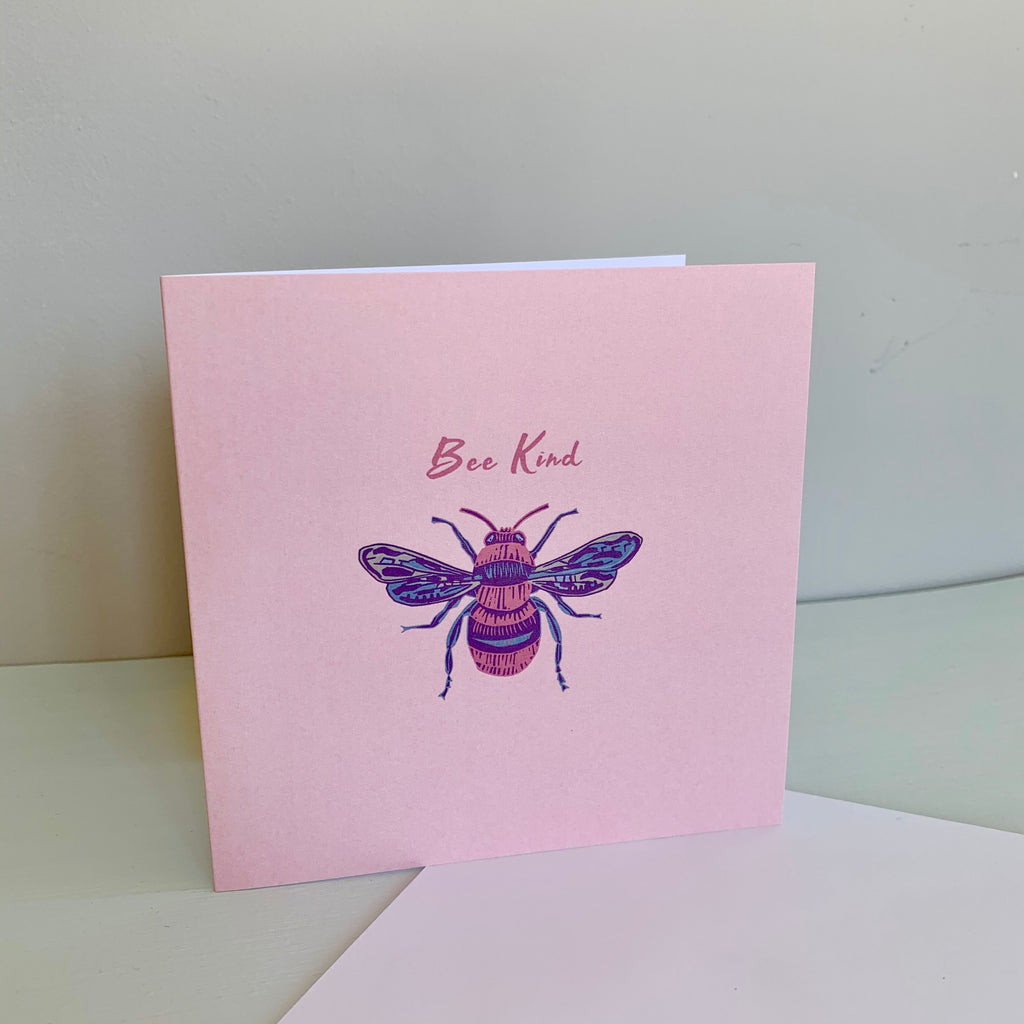 'Be Kind' Honey bee Blush Pink Design Luxury Blank Greeting Occasion Card