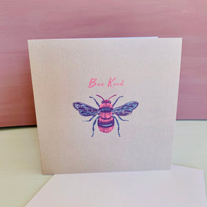 'Be Kind' Honey bee Light Green Design Luxury Blank Greeting Occasion Card