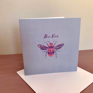 'Be Kind' Honey bee Blue Design Luxury Blank Greeting Occasion Card