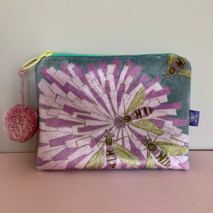 Shimmer Velvet Bees on Flower 'Grey' purse