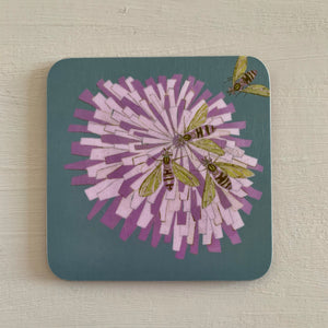 Cork Backed Bees on Flower 'Grey' Design Drinks Coaster