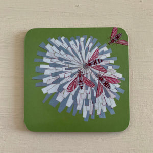 Cork Backed Bees on Flower 'Green' Design Drinks Coaster