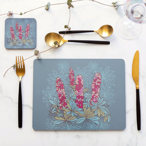 Set of 4 Cork Backed Lupins Flower Table Placemats