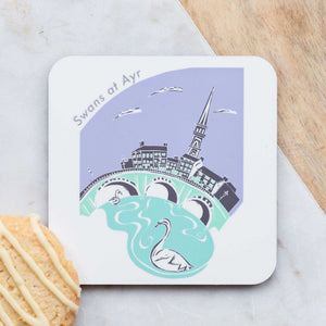 Set of 4 Cork Backed Swans at Ayr Drinks Coasters