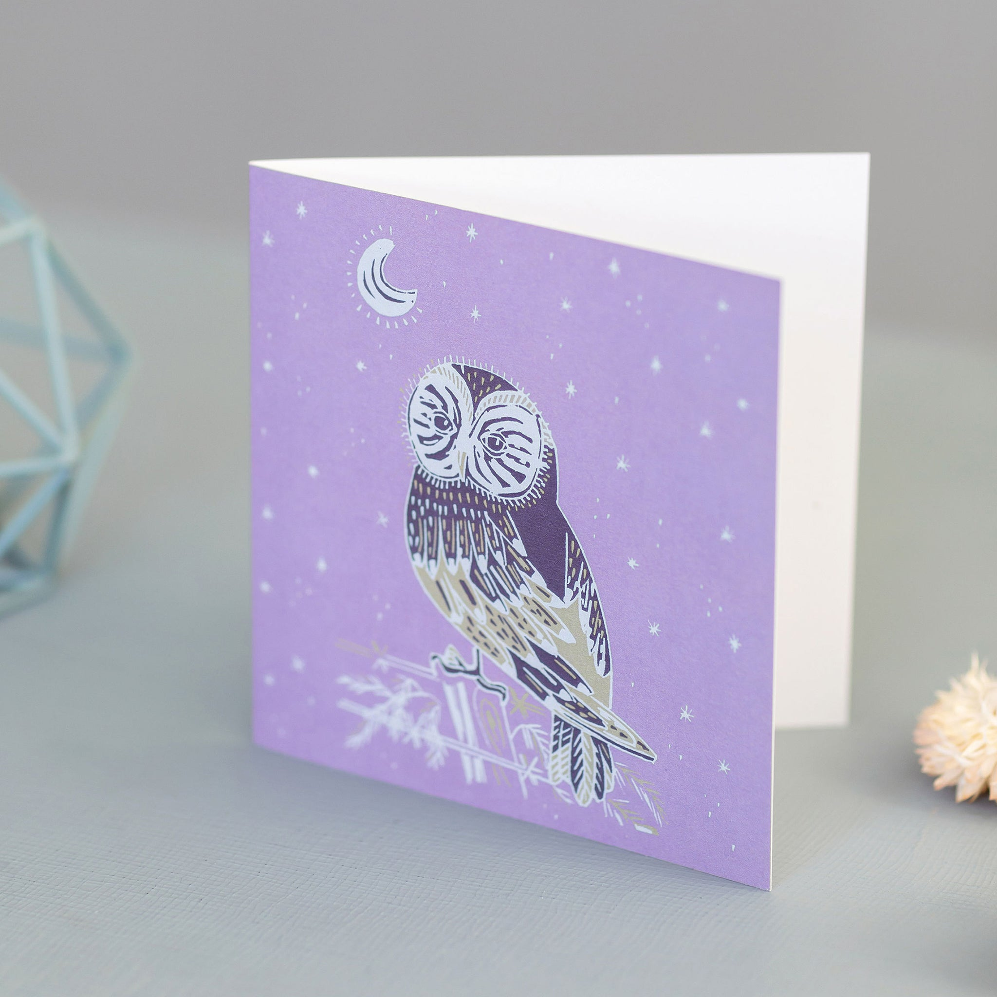 Purple Barn Owl and Night Sky Blank Occassion Greeting Card