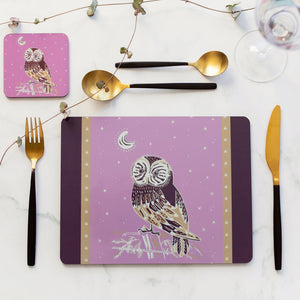 Set of 4 Cork Backed Owl & Night Sky Cork Backed Table Placemats