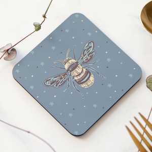 Set of 4 Cork Backed Honey Bee Design Drinks Coasters
