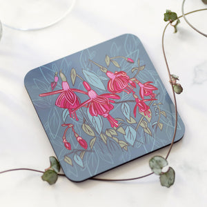 Set of 4 Cork Backed Fuchsia Flower Design Drinks Coasters