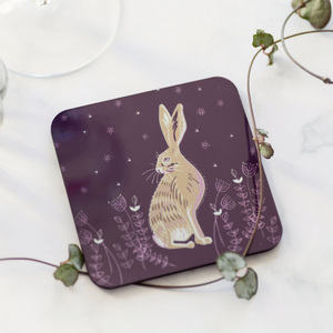 Set of 4 Cork Backed Hare Design Drinks Coasters