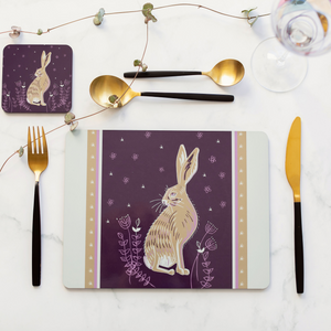 Set of 4 Cork Backed Hare Design Dining Table Placemats