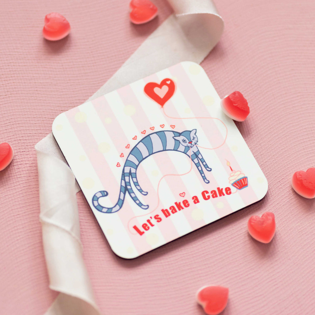 Set of 4 Cork Backed Let's Bake a Cake Love Heart Kitten Design Coaster